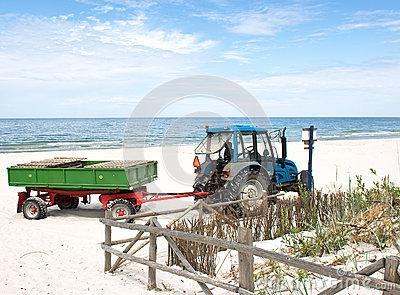 Tractor on the beach.