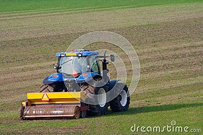 Tractor cultivating farmland