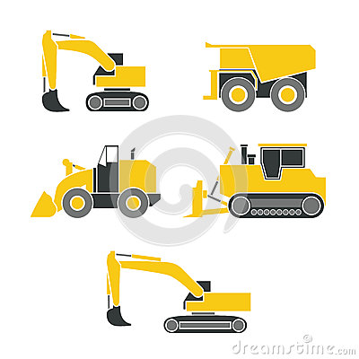 Free Tractor, Excavator, Bulldozer, Crawler Set , Wheeled And Continuous Track With Blade And Backhoe. Stock Photo - 57688190