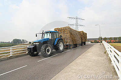 Tractor with hay wagon