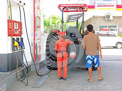 Tractor at petrol station Editorial Photography
