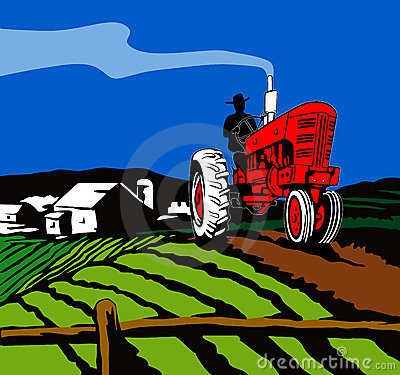 Free Tractor Plowing The Farm Royalty Free Stock Photography - 3284577