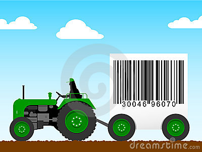 Tractor pulling a huge bar code
