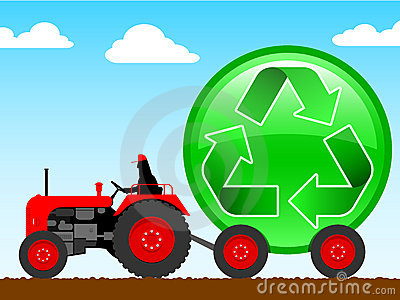 Tractor pulling a huge recycle icon