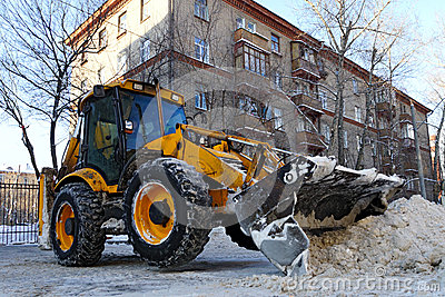 Tractor removes snow