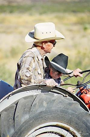 Free Tractor Ride For A Little Boy And Grandfather Royalty Free Stock Image - 7430576