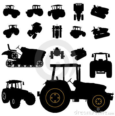 Free Tractor Silhouette Set Royalty Free Stock Photos - 12827128