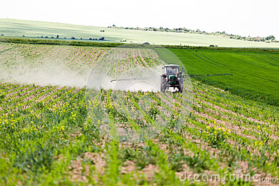 Tractor spraying, agriculture
