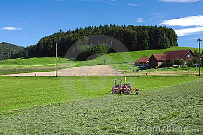 Tractor standing next to mowed grass
