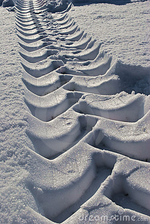 Tractor tracks in the snow