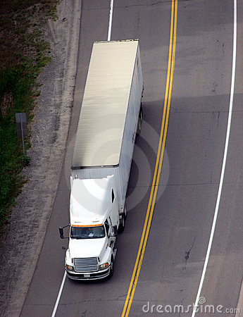Tractor Trailer Semi Truck on Road View from Above
