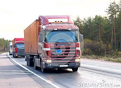 Tractor trailer trucks (lorry) caravan convoy line