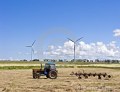 Tractor and wind turbines