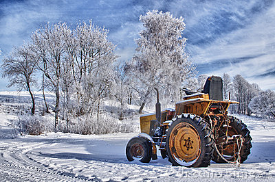 Tractor in the winter