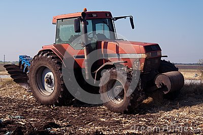 Tractor at work on farm
