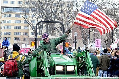 Tractorcade Rally in Madison Wisconsin Editorial Stock Image