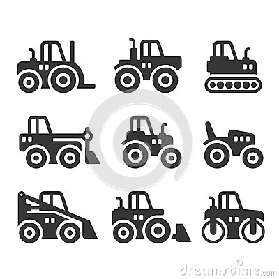 Free Tractors, Farm And Buildings Machines Icons Set. Vector Royalty Free Stock Photography - 84481757