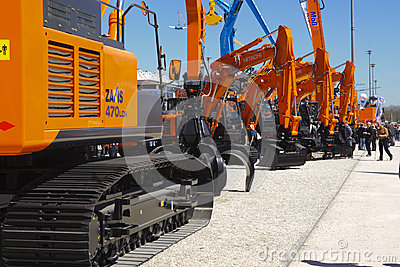 Trade fair for building machines Editorial Stock Photo