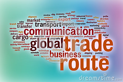 Trade route word cloud with abstract background