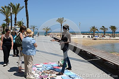 Traders on the waterfront Torrevieja Editorial Stock Photo