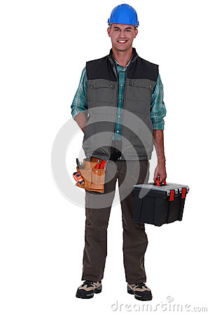 Tradesman arriving at work