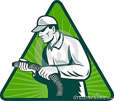 Tradesman home insulation technician with hose