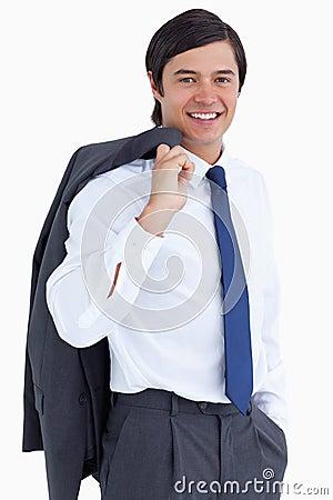 Tradesman with jacket over his shoulder