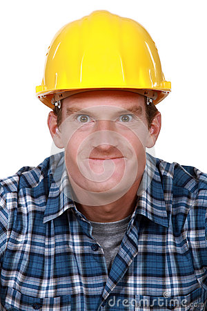 Tradesman making a face