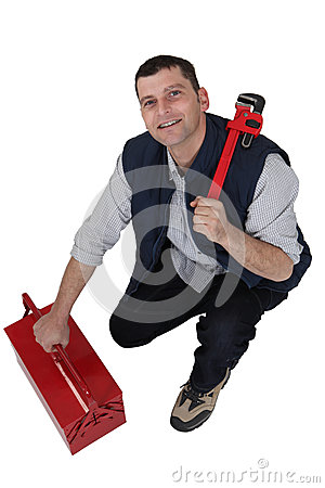 Free Tradesman With A Pipe Wrench Royalty Free Stock Image - 35744596