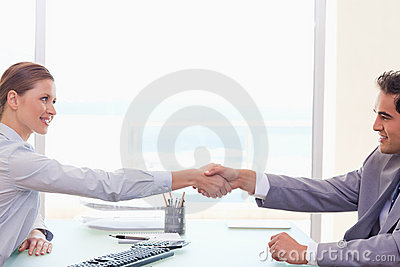 Trading partner shaking hands