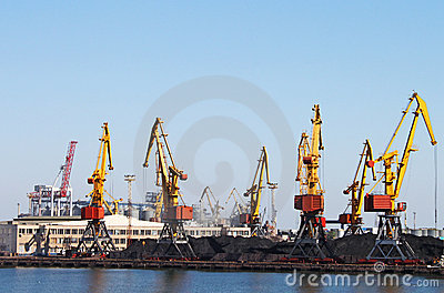 Trading seaport with cranes