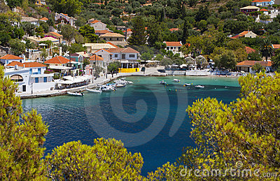 Tradiotinal Greek Village At Kefalonia Royalty Free Stock Images - Image: 20711809