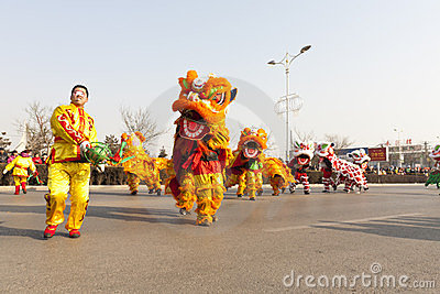 Traditioal Chinese lion dancing Editorial Photography