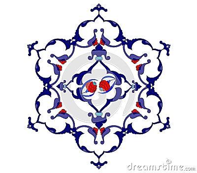 Traditional antique ottoman turkish tile illustrat