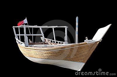 Traditional Arabian fishing dhow isolated on black