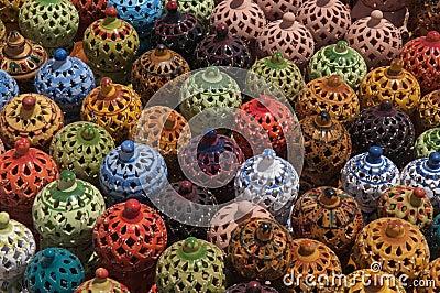 Traditional Arabic ceramic lamps