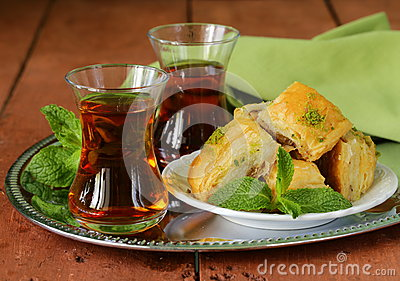 Traditional Arabic Turkish tea served with mint