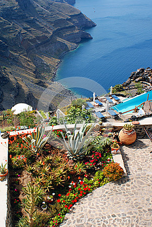 Traditional architecture of Oia village on Santorini island
