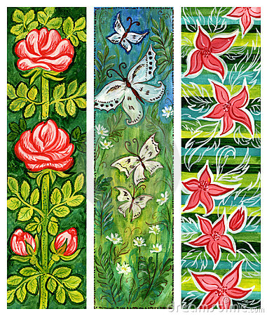 Traditional art floral banners