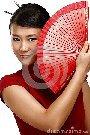 Free Traditional Asian Woman Holding A Red Beautiful Fan Stock Image - 35977991
