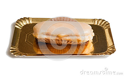 Traditional asturian almond cake with sugar frosting and known a