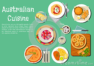 Traditional australian cuisine dishes flat icon stock for Authentic australian cuisine