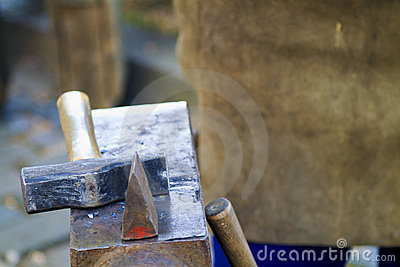 Traditional blacksmith scene close up