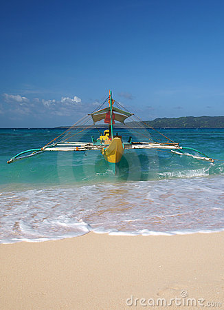 Traditional boat on the beach of Boracay island