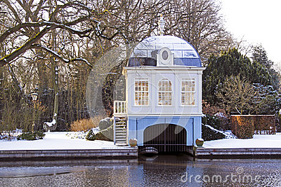 Traditional boat house in the Netherlands