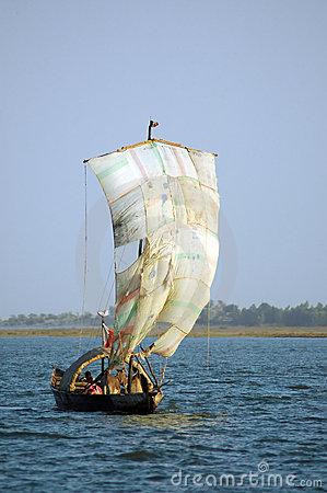Free Traditional Boat In West Africa With A Sail Stock Images - 18306064