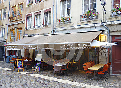 Traditional bouchon restaurant in Vieux Lyon, France Editorial Stock Photo