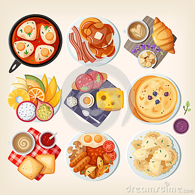 Free Traditional Breakfasts All Over The World. Royalty Free Stock Photo - 66825655