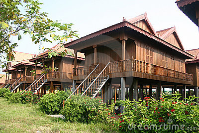 Traditional Cambodian wooden houses