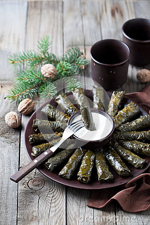 Free Traditional Caucasian Dishes (Dolma), Stuffed Grape Leaves With Meat Royalty Free Stock Photos - 62484708
